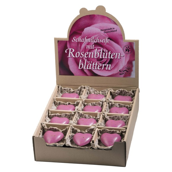 Schafmilchseife Herz mit Rosenblütenblättern pink