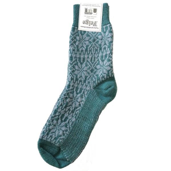 Norweger Sternenmuster Socke türkis/opal