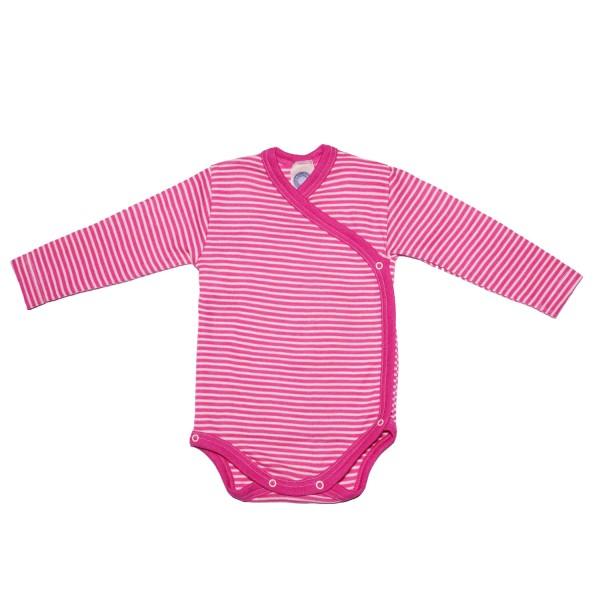 Baby-Wickelbody Langarm Wolle/Seide pink-geringelt