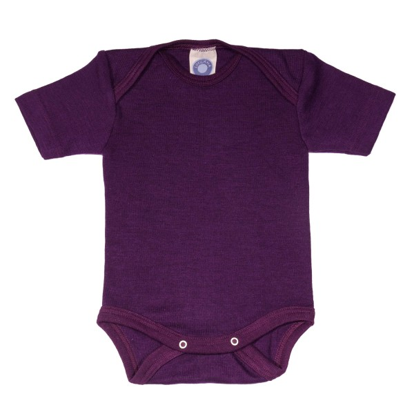 Baby-Body Kurzarm Wolle/Seide pflaume