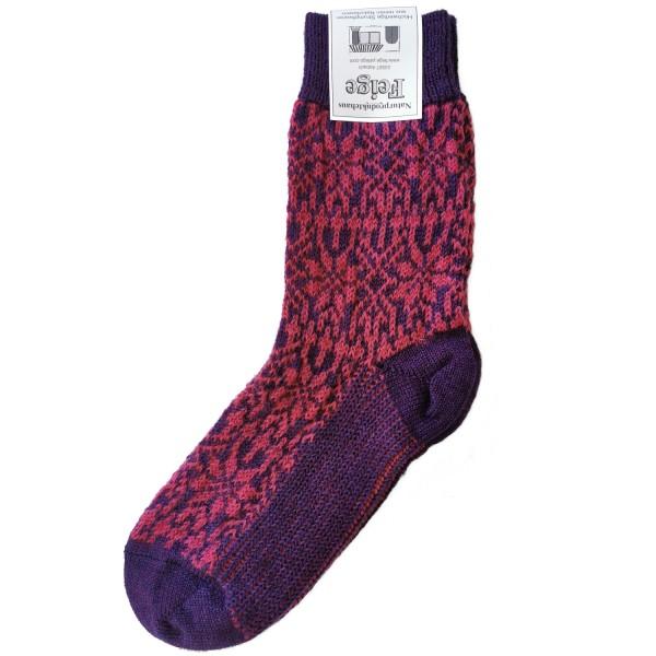 Norweger Sternenmuster Socke lila/pink