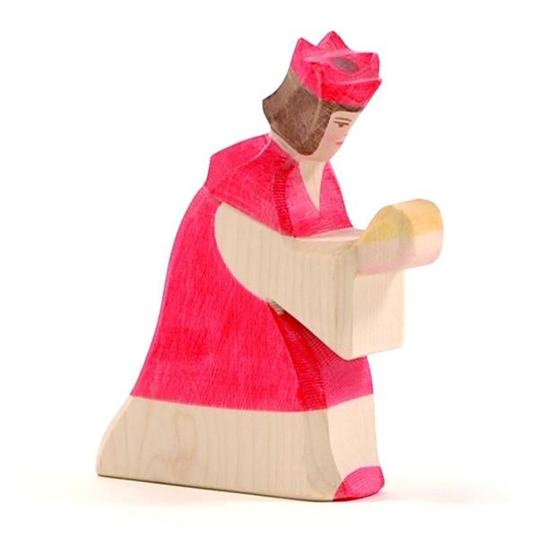 Holzfigur König rot