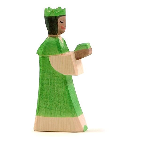 Holzfigur König grün