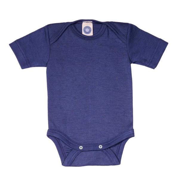 Baby-Body Kurzarm Wolle/Seide marine