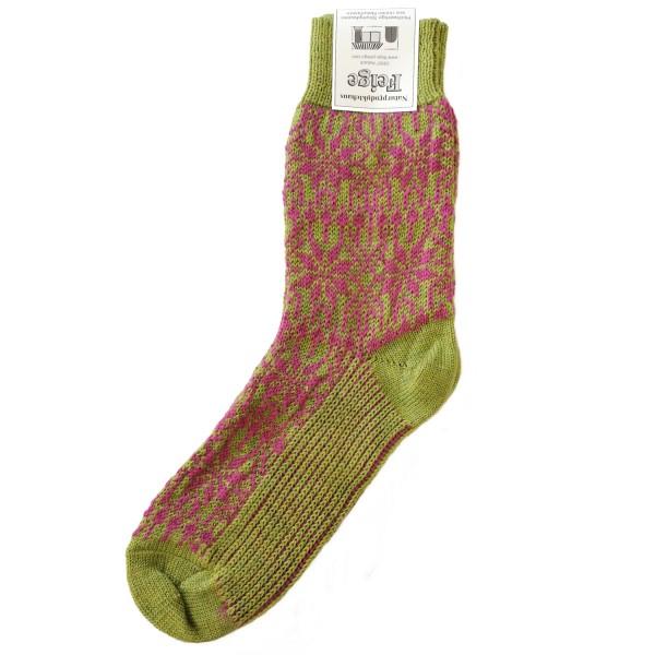 Norweger Sternenmuster Socke maigrün