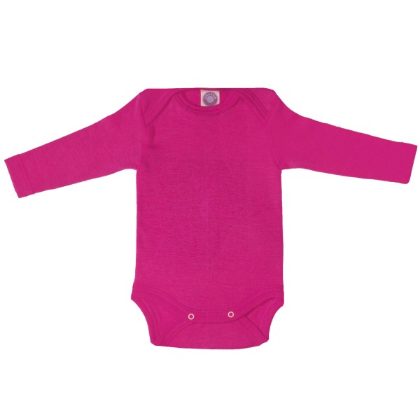 Baby-Body Langarm Wolle/Seide pink