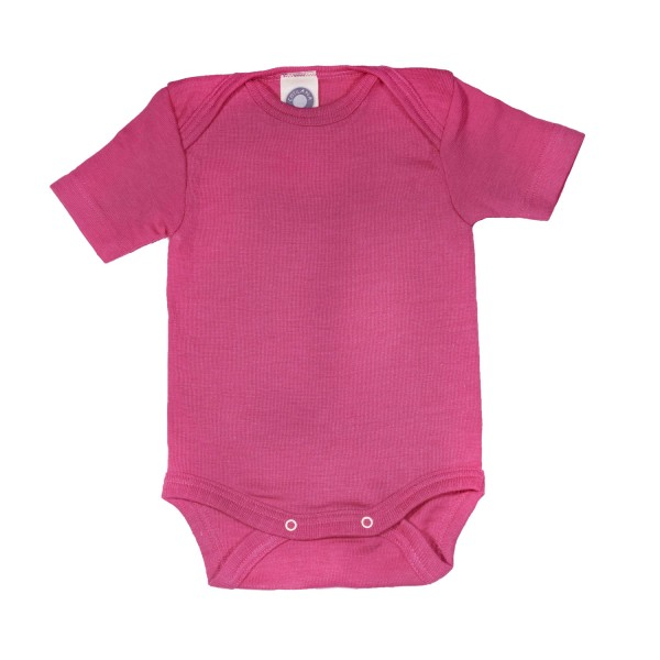 Baby-Body Kurzarm Wolle/Seide pink