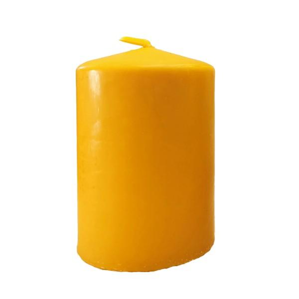 Öko-Stumpenkerze mit Bienenwachsüberzug, gelb