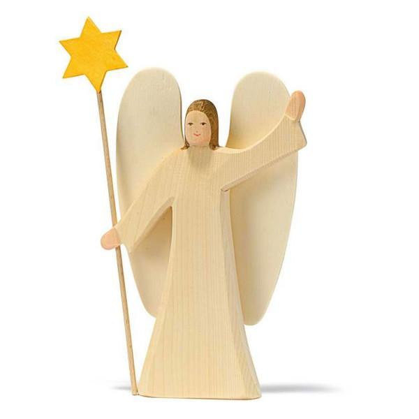Holzfigur Engel mit Stern, groß