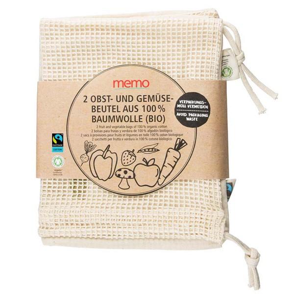 Bio-Baumwollbeutel für Obst und Gemüse, 2 Stk.