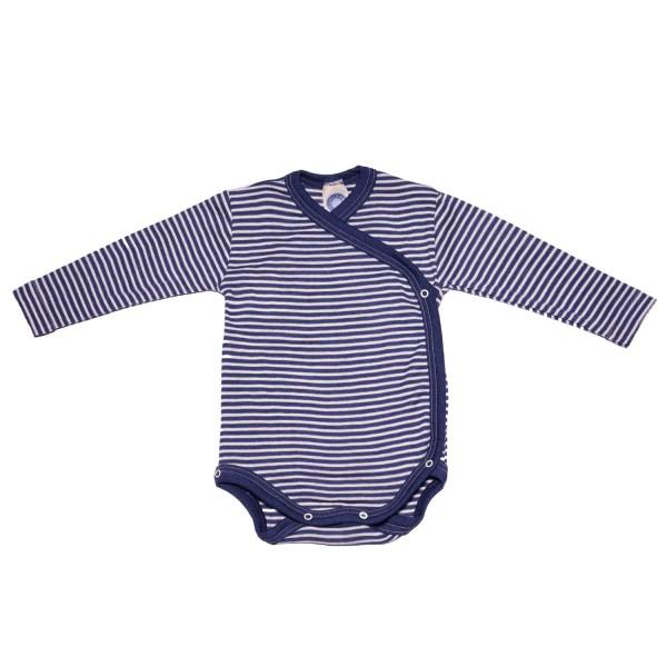 Baby-Wickelbody Langarm Wolle/Seide marine-geringelt