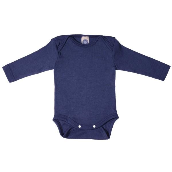 Baby-Body Langarm Wolle/Seide marine