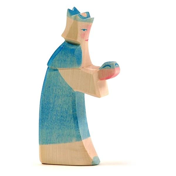 Holzfigur König blau