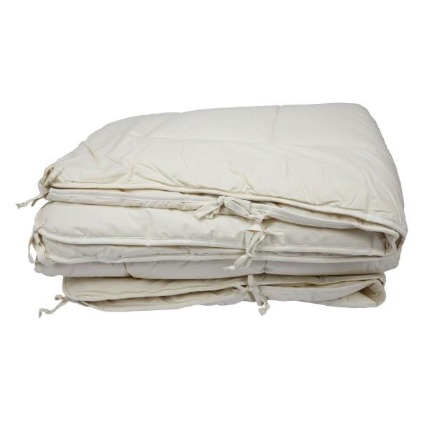 Vier-Jahreszeiten-Steppbett Schurwolle, mit Bändern